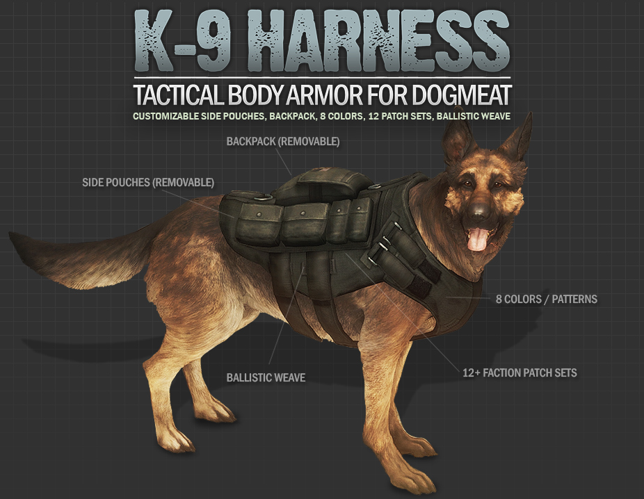 K-9 Harness - Tactical Body Armor and Backpack for Dogmeat